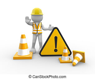 Warning sign - 3d people - man, person worker with traffic...