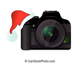 camera and christmas hat gift concept illustration design