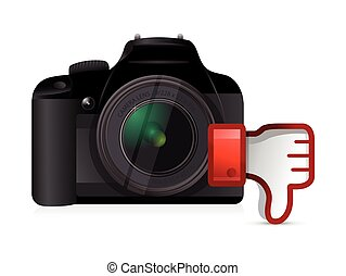 camera thumbs down dislike illustration design over white