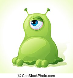 Vector cute green monster isolated on white background
