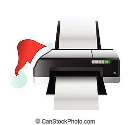 impresora, navidad, sombrero, regalo, concepto