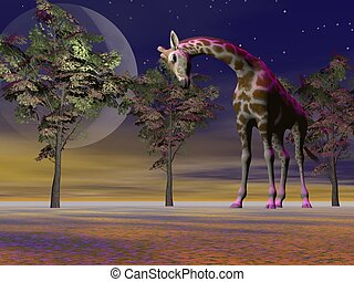 giraffe and trees and moon