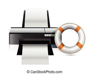 SOS, concepto, impresora