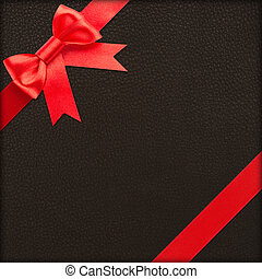 Brown gift with red bow - Red bow and ribbon over brown...