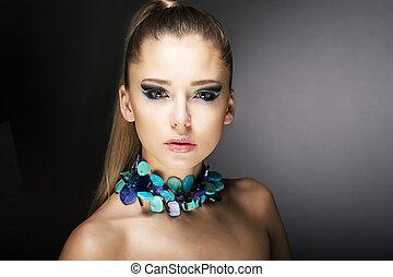 lujo, magnífico, moderno, mujer, turquesa, collar
