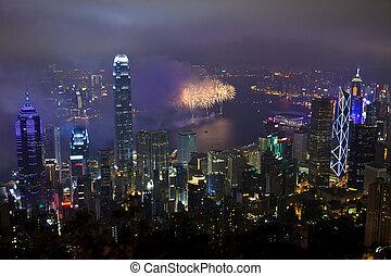 Fireworks in Hong Kong, China - HONG KONG - FEBRUARY 11,...