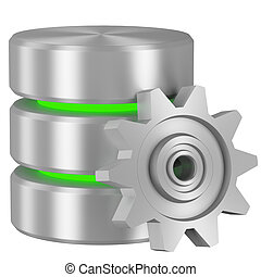 Database icon with green elements and cogwheel - Data...