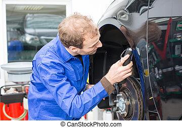 coche, mecánico, reparaciones, frenos