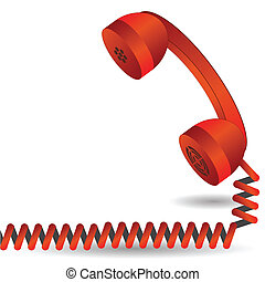 red telephone - colorful illustration with red telephone for...