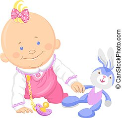 Vector cute baby girl playing with a toy rabbit - Cute...
