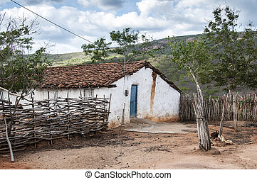 Mud house in Brazil - Poor mud house in the northeastern...