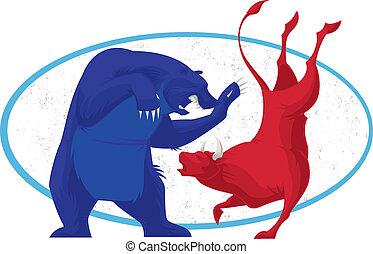 toro, oso, -, acción, Mercado