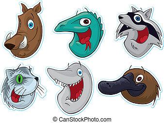 sonriente, cara, refrigerador, Magnet/Stickers, (Animals),...