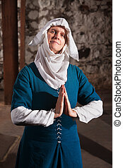 Righteous Medieval Nun - Righteous medieval nun with palms...