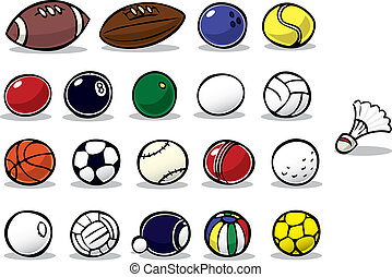Series of cartoon ball icons