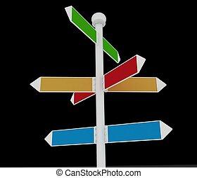 Direction road signs on black background 3d render...