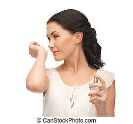 mulher, cheirando, perfume, dela, mão