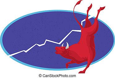 tendencia, toro,  -, Mercado, acción