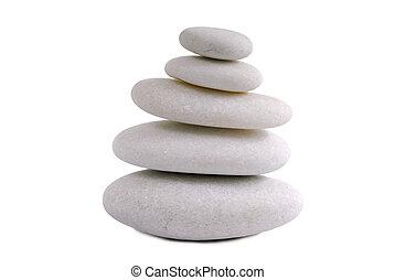 石, 白, 禅, 隔離された, 背景