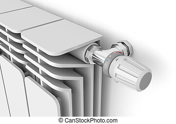Thermostat - Heating radiator with thermostat, 3d rendered...