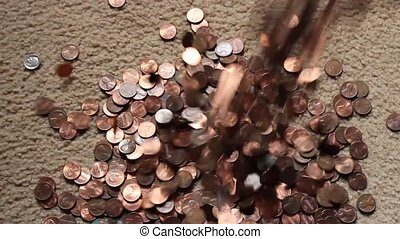 falling pennies - collection of one cent coins falling into...