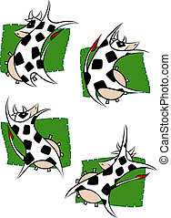 Set of 4 Dancing Cows
