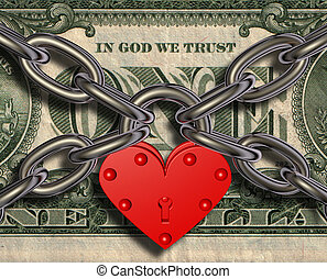 Heart lock and money - We love money - heart lock and money