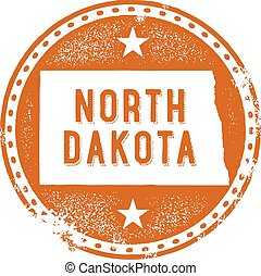 North Dakota USA State Stamp - A distressed vintage style...