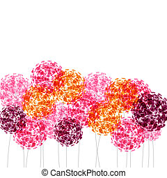 Abstract colorful background with flowers. Raster...