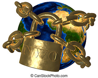 New World Order NWO - 3D picture of world bound in golden...