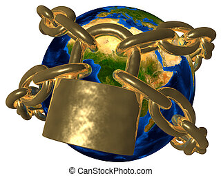 Earth in golden chain - Europe