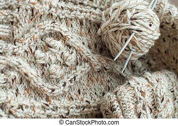 Detail of woven handicraft knit sweater