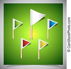 Set of vector multicolored flag pins