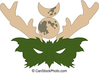 The Horned God - Mask of the Wiccan Horned God, or Green Man