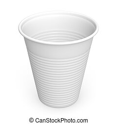 Disposable Plastic Cup - Close-up of a white plastic cup on...