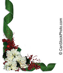 Christmas Flowers and ribbons borde - Christmas design with...