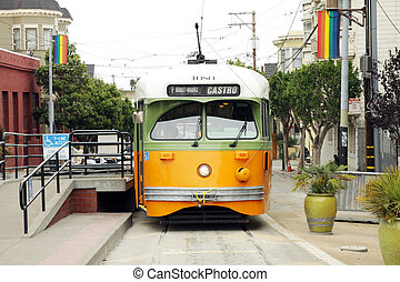 vintage cable car in San Francisco - A vintage cable car at...