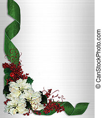 Christmas border Flowers ribbons - Christmas design with...