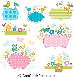 ester frames - easter frames set with birds and flowers