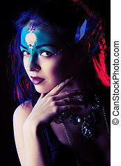 face art - Portrait of a beautiful young woman with fantasy...