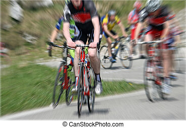 Cycle race - A cycling race with cyclist riding