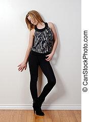 adolescente, modelo, moda