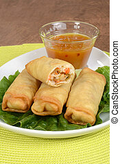 Vegetable spring rolls with sauce - closeup Vegetable spring...