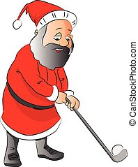 Vector of a man playing golf in santa's costume.