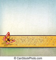 abstract background with butterfly and floral ornament