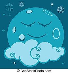 lune, astre, nuage, monde,dormir - lune, toile, plante,...