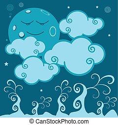 lune, toile, plante, monde,dormir, dodo, rver, rve, enchant,...