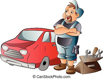 Car Mechanic, illustration - Car Mechanic Working on a Red...