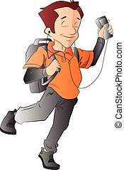 Man with a Backpack and Music Player, illustration