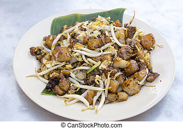 Penang Fried Rice Cake with Bean Sprouts - Penang Malaysia...